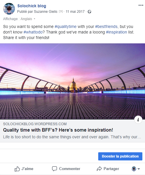 Facebook bouton booster la publication example