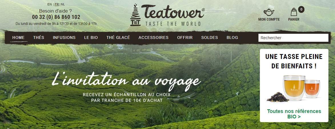 Example menu site web Tea Tower