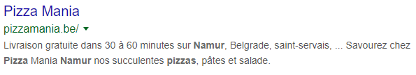 Meta description pizza mania namur